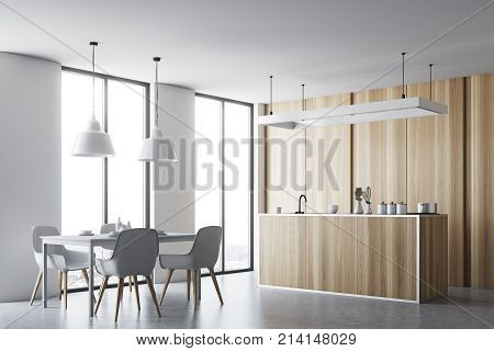 Wooden Kitchen And Dining Room, Countertop