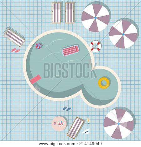 Swimming pool with pool toys like rubber ring pool air mattress. Swimming Pool Top view with umbrellas table with food sunscreen hat loungers flip flops etc.