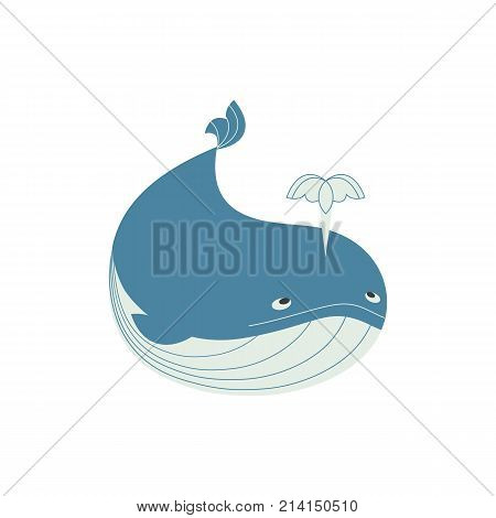 Blue whale icon. Cute cartoon flat sign isolated. Powerful and dynamic ocean marmals. Wildlife nature symbol oceanic ecosystem nautical logo. Fin whales animal funny emblem. Vector illustration