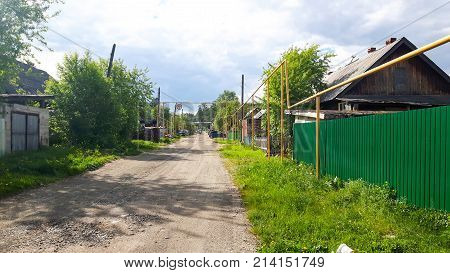 Pipeline above ground in a russian village not dangerous for russian people.