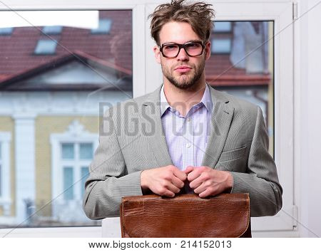 Man With Briefcase Isolated On White Background.