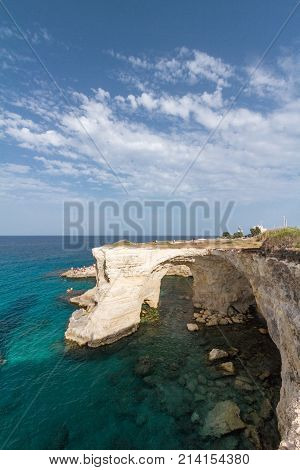 A calm blue sea typical glimpse picture taken from the coast of Torre Sant'Andrea Puglia region south Italy
