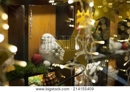 Christmas and New Year Decoration. Holiday concept, winter season. Decorated and illuminated Christmas store window