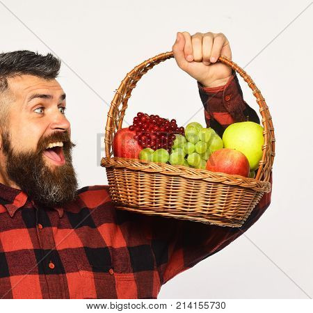 Guy Holds Homegrown Harvest. Farming And Autumn Crops Concept.