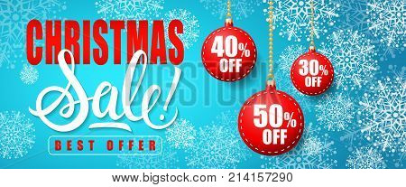 Christmas Sale Best Offer lettering. Christmas invitation with baubles. Handwritten and typed text, calligraphy. For banners, posters, leaflets and brochures.
