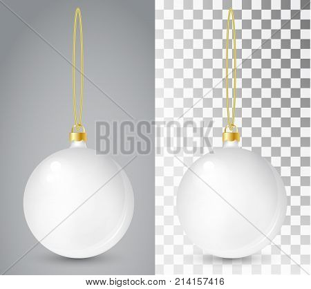 Glass Christmas White Toy On A Transparent Background. Stocking Christmas Decorations. Transparent V