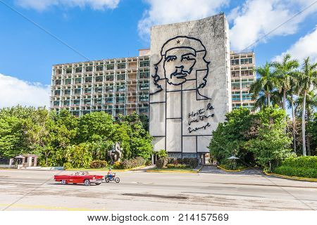 Havana, Cuba-07 October, 2017. Ministry of the Interior building with face of Che Guevara at the Revolution Square on October 07, 2017 in Havana, Cuba.