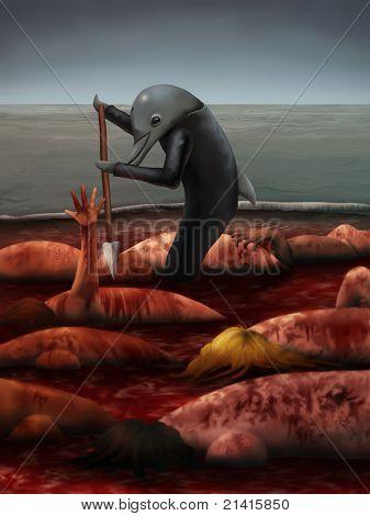 dolphin hunter illustration