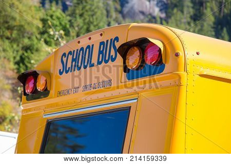 School vehicle emergency exit window close up