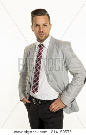 manager in front of white background