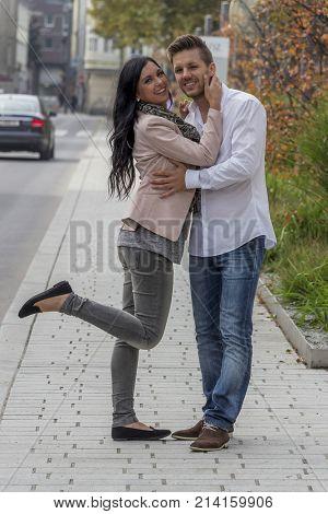loving couple in urban environment