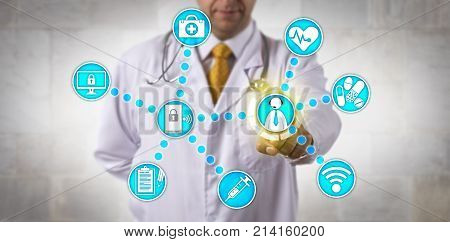Unrecognizable doctor of medicine is touching a male white collar patient via internet connection. Healthcare technology concept for telemedicine remote management of chronic disease telepresence.