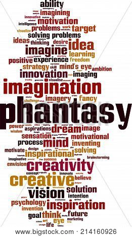 Phantasy word cloud concept. Vector illustration on white
