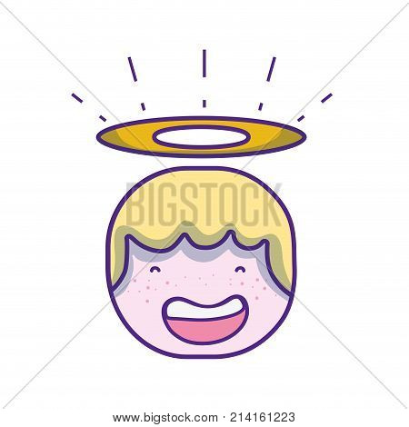 tender happy angel head with aureole design vector illustration