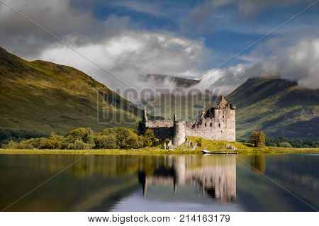Reflection of Kilchurn Castle in Loch Awe Highlands Scotland