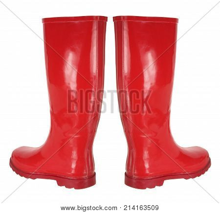 Pair of Red Rubber Boots on White Background