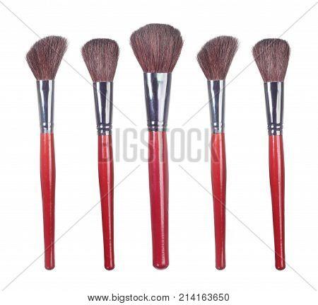 Row of Make Up Brushes on White Background