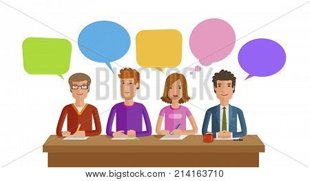 Teamwork, team work. Business, education, public opinion conference concept Vector illustration