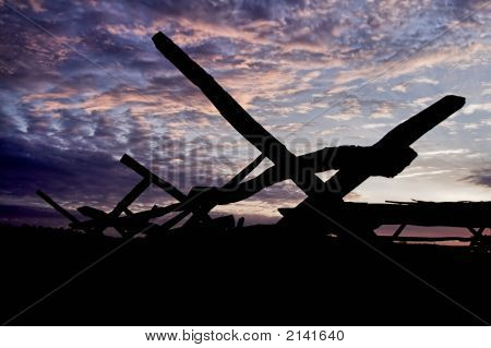 Purple Skies - Wooden Fence