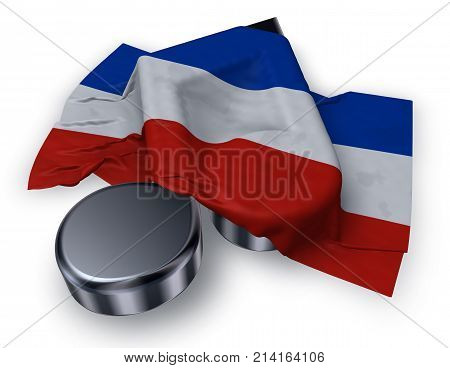 music note symbol and flag of schleswig-holstein - 3d rendering