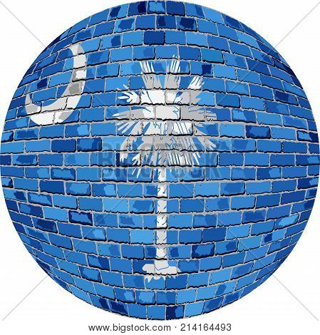 Ball with South Carolina - Illustration,  South Carolina flag sphere in brick style