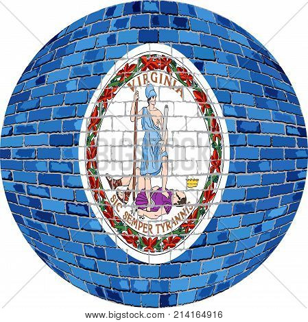 Ball with Virginia flag - Illustration,  Virginia flag sphere in brick style