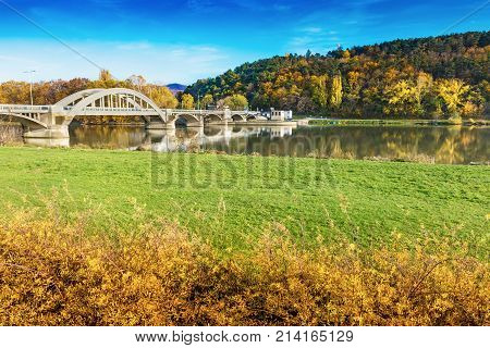 Bridge In Piestany (slovakia), Vah River + Blue Sky + Colorful Autumn