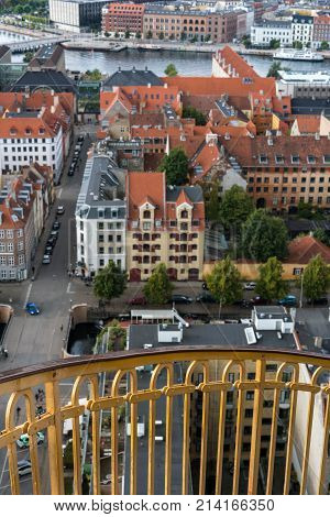 Spiral walkway up tower of Church of our Saviour in Copenhagen, Denmark