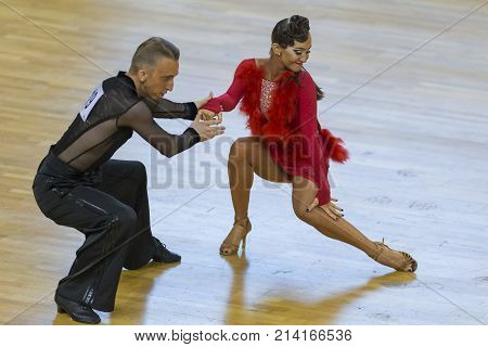 Minsk Belarus-October 28 2017: Professional Dance Couple Performs Youth-2 Latin-American Program on WDSF International WR Dance Cup in October 28 2017 in Minsk Republic of Belarus.