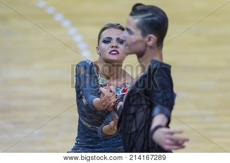 Minsk Belarus-October 28 2017: Dance Couple Of Ilia Shvaunov and Anna Sneguir Performs Youth-2 Latin-American Program on WDSF International WR Dance Cup in October 28 2017 in Minsk Republic of Belarus