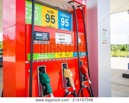 Trang Thailand - September 2 2017: Caltex gas station blue sky background. Caltex is a petroleum brand name of Chevron Corporation used in more than 60 countries.