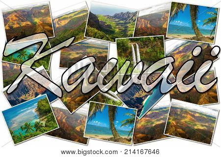 Hawaii pictures collage of different famous locations landmark of Kauai island in Hawaii, United States.