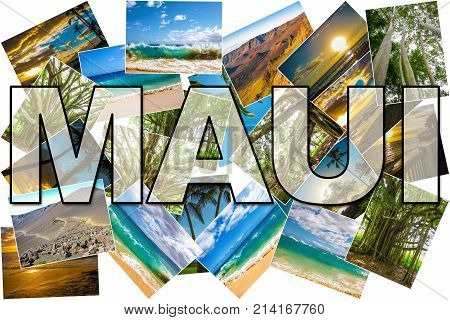 Hawaii pictures collage of different famous locations landmark of Maui island in Hawaii, United States.
