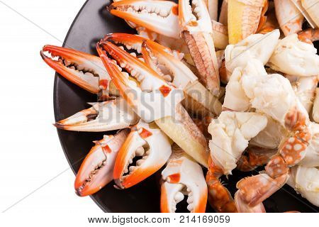 A Lot Of Boiled Crab Oysters And Claw Isolated On White Background