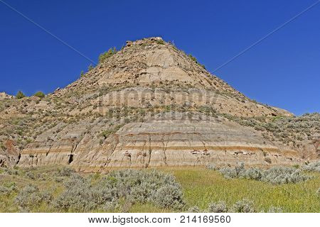 Colorful Badlands Hill in the Spring in Theodore Roosevelt National Park in Norht Dakota