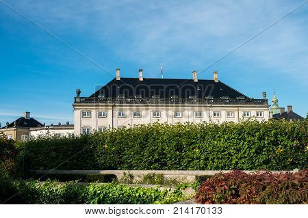 Rear view of the Amalienborg palace in the city of Copenhagen in Denmark