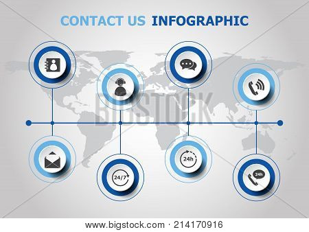 Infographic design with contact us icons, stock vector