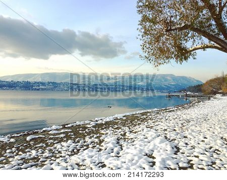 Scenic Winter Lake And Mountains Landscape