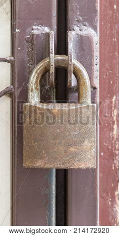 Brass Padlock Hook On Door Loop - Locked