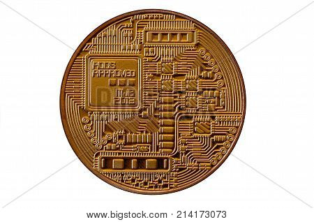 Bitcoin. Physical Bit Coin. Digital Currency. Cryptocurrency Mining Concept. Golden Coin With Bitcoi