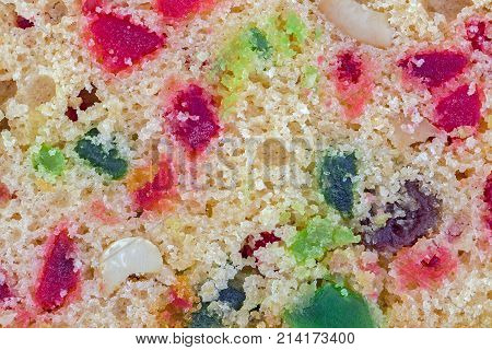 Fruit Cake Closed Up With Dried Fruit Texture.