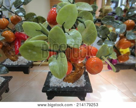 Beautiful jade tree with green leaves and orange tangerine.