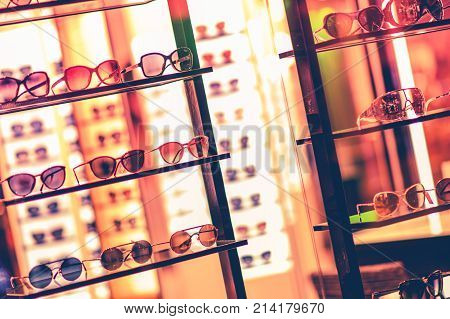 Luxury Sunglasses Storefront. Shopping Luxury Goods Concept.