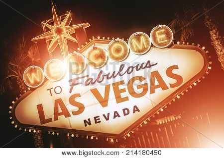 Strip Sign of Las Vegas Closeup Photo. Famous Strip Entering Welcome Sign. Nevada United States of America.