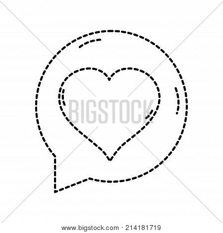 dotted shape chat bubble with heart inside to love message vector illustration