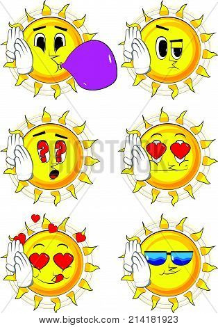 Cartoon sun holds both hand at his ear, listening. Collection with various facial expressions. Vector set.