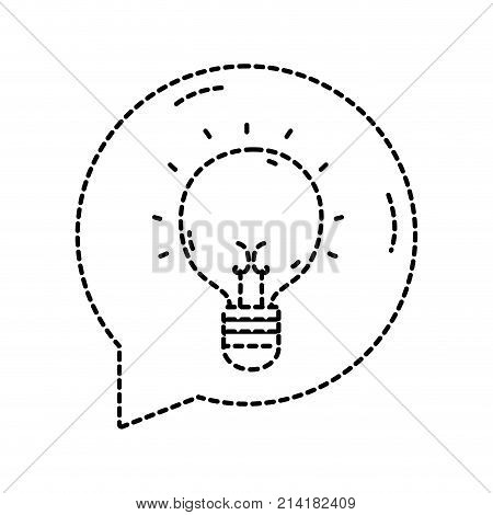 dotted shape bulb idea inside chat bubble message vector illustration
