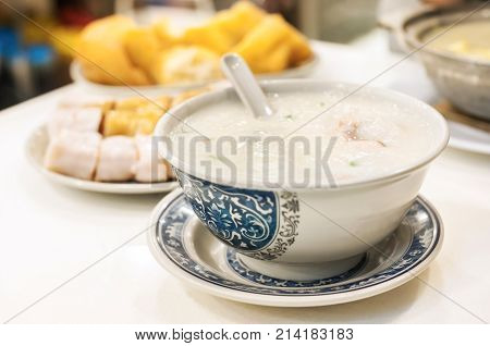 Classic Hong Kong congee served in local cafe