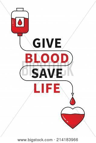 Blood Donation vector illustration with red heart and drop counter. Blood Donation line art concept with the red line connecting dropper and heart. Lifesaver campaign template graphic design.