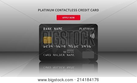 Credit card advertising vector illustration. Bank credit debit card promotion creative concept. Plastic platinum contactless card graphic design.